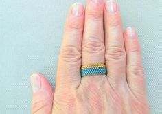 Gold and teal seed bead ring // Handmade band ring // CUSTOM made to order in any size
