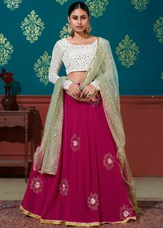 #magenta #sequins #embellished #georgette #lehenga #choli #designs # traditional #indian #outfits #gorgeous #wedding #look #ootd #new #arrival #womenswear #online #shopping Mirror Work Blouse, Choli Designs, Party Wear Lehenga, Green Blouse, Lehenga Choli, Pink Color, Two Piece Skirt Set, Formal Dresses, How To Wear