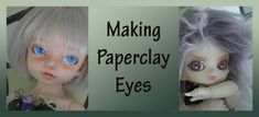 Making Paperclay eyes for your doll is very simple. The eyes shown here were colored  using  pencils and acrylic paint, but feel free to explore other materials and use your imagination! The Paperclay used here was purchased at an A.C, Moore craft store, and it is easy to find at art and craft supply places. The Mr. Super Clear used to seal the eyes came from Junkyspot. The paints and pencils came from  Dick Blick.