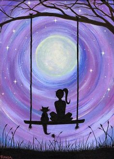 A Girl and her Cat (PRINT) A girl and her cat. Sure to capture the hearts. In this dreamy, heartfelt silhouette of a girl and her cat sitting on a swing under the majestic full moon, get lost. My cat Kickick inspires my art. She was my first experience of Cat Art Print, Print Print, Cat Sitting, Art Plastique, Painting & Drawing, Swing Painting, Moon Painting, City Painting, Heart Painting