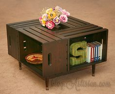 DIY crate coffee table - easy, quick and low cost rustic look for the living room. Easy DIY project and unique home decor. Made with unfinished crates from Home Depot, sanded and stained for vintage look.