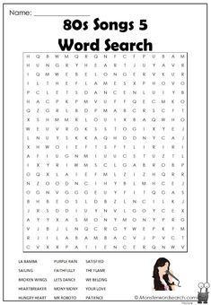 Kids Word Search, Word Search Puzzles, Free Printable Word Searches, Summer Words, Family Card Games, 80s Songs, Character Words, Teen Programs, Crossword Puzzles