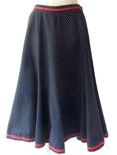 ロンドン買い付け 60年代製 ブラック X ホワイト 水玉 レッド ひも飾り ヴィンテージ スカート 17BS034