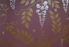 Egerton Wallpaper  £68.00 per roll  Climbing wisteria in satin gold and white on plum