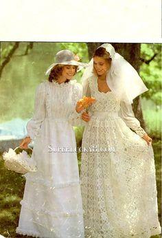 2 vintage wedding dresses PDF pattern , crocheted wedding dress and knitted wedding dress download pattern