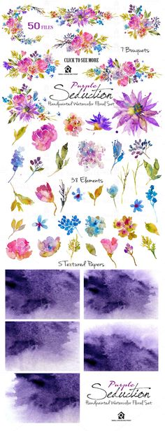 Purple Seduction- Watercolor Floral by SmallHouseBigPony on Watercolor Tips, Watercolor Texture, Floral Watercolor, Plum Wedding Invitations, Page Decoration, Decorations, First Contact, Brush Lettering, Paper Texture