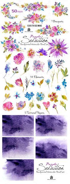 Purple Seduction- Watercolor Floral  by SmallHouseBigPony on @creativemarket