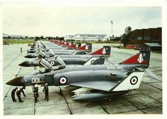 Royal Navy Phantom FG1's of 892Sqn, getting ready to deploy to HMS Ark Royal for the last time from RAF Leuchars in 1975