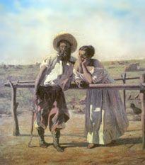 """""""Uno de los tres chiripás"""" (óleo sobre tela, 40 x 50 cm.) del pintor de Uruguay Juan Manuel Blanes (1830 - 1901)."""