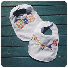 Bow tie and bunting applique templates~~Decorate a baby bib with applique