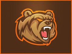 Grizzlies - mascot logo on behance logo design логотип, г Sports Team Logos, Game Logo Design, Bear Logo, Animal Logo, Pictogram, Logo Design Inspiration, Design Reference, Fantasy Football, 3d Printing