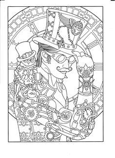 Steampunk Coloring Page Adult