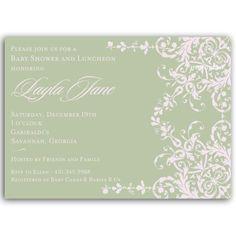 Elegant Garland Pink and Sage Baby Shower Invitations