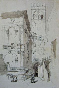 John Ruskin, View of Bologna Joseph Mallord William Turner, Watercolor Landscape, Watercolor Paintings, Pre Raphaelite Brotherhood, Pen And Wash, John Everett Millais, John Ruskin, Building Illustration, English Artists