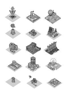 ArtStation - Iso Buildings quick thumbnails, Daniel Beaulieu