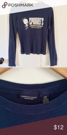 AE Sparky's Tee 100% cotton, smooth cuffs and contrast stitching at shirt hem. American Eagle Outfitters Tops Tees - Long Sleeve