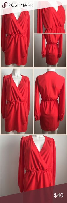 Red Faux Wrap Dress Fun & flirty red long sleeve dress by Honey Punch.V-neck, elastic at the waist, faux wrap. Looks cute with a statement necklace and some pumps! I also have another one listed in a neon green Honey Punch Dresses