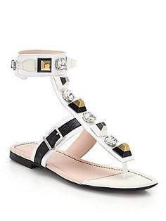 Fendi Embellished Leather Thong Sandals