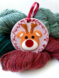 Fused glass reindeer ornament hanger Christmas seasonal decor
