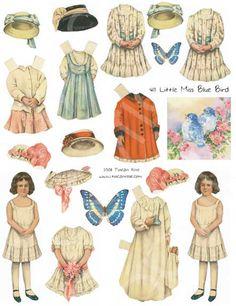 411 little miss blue bird paper dolls