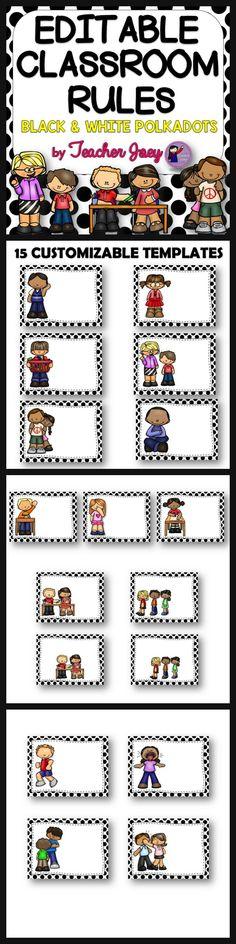of 10 Math Face Off Editable Classroom Rules Black and White DotsEditable Classroom Rules Black and White Dots Classroom Labels, Classroom Organisation, Classroom Behavior, Classroom Rules, Classroom Environment, Teacher Organization, Classroom Setup, Classroom Design, Classroom Displays