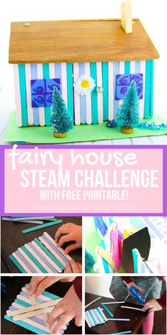 A fun STEAM project for fairy loving kids, this popsicle stick fairy house is a fun engineering challenge for kids and comes with a free STEAM printable to plan your popsicle stick project