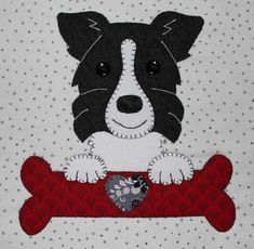 Border collie applique wall hanging.