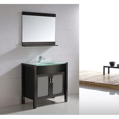 """35.5"""" Modern Solid Wood Bathroom Vanity with Glass Top - Espresso (free shipping)"""