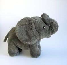Vintage Elephant Stuffed Animal R Dakin 1980s Toys Dark Gray Big Ears Standing Elephant African Elephant African Animal Safari Animal