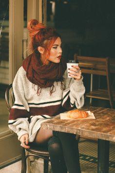 Grunge Fashion, Cute Fashion, Boho Fashion, Autumn Fashion, Fashion Outfits, Womens Fashion, Fall Sweaters, Chunky Sweaters, Luanna Perez