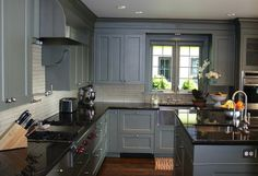 Gray Kitchen Cabinets With Black Countertops