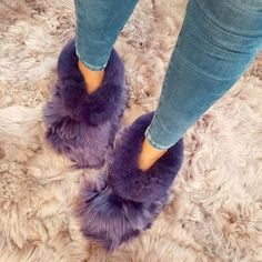 Alpaca Slippers, Purple Slippers, Slipper Boots, Alpacas, Bedroom Slippers, Unisex, Womens Slippers, Fur, Colors