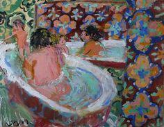 Dominic Hills Bath (If I had Lisben Tiles) , 2014  oil on canvas  70 x 55 cm