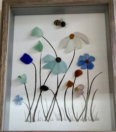 Genuine Sea Glass Framed Artwork Flowers Picture Bumble Bee