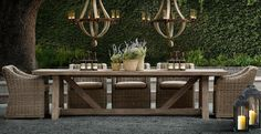 The Restoration Hardware PROVENCE dining table and furniture collection . rustic yet modern, sexy Outdoor Dining Furniture, Unique Furniture, Outdoor Rooms, Outdoor Tables, Furniture Decor, Outdoor Living, Furniture Design, Dining Table, Outdoor Decor