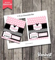 CHOCOLATE BAR WRAPPERS Minnie Mouse Printable Kids Party Creative Model SD012-09