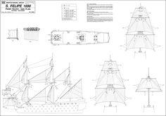 Quinze marins sur le bahut du mort...: Plan San Felipe 1ère partie Boat Plans, Model Ships, Paper Models, Tall Ships, Model Building, Scale Models, Sailing Ships, Planer, Fotografia