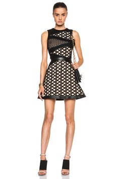 David Koma Sleeveless Lace & Macrame Layered A Line Dress in Beige & Black