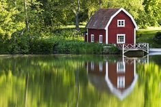 A Red Summer Barn    by the River by diesmali, via Flickr