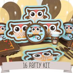 Owl - Look Whooo's Having A Baby - Baby Shower 16 Person Party Kit