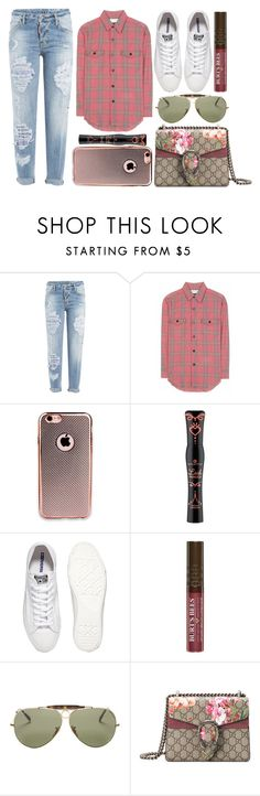 """street style"" by sisaez ❤ liked on Polyvore featuring Dsquared2, Yves Saint Laurent, Converse, Burt's Bees, Ray-Ban and Gucci"