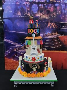 Coco inspired cake for our team effort competition. Cake completed by Natasha Rice from Natasha Rice Cakes. place winner at LA Cookie Con and sweets show. Cake Coco, Coco Disney, Movie Cakes, 4th Birthday Parties, 3rd Birthday, Disney Cakes, Mexican Party, Cakes For Boys, Themed Cakes
