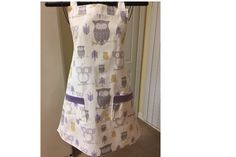 Purple Owl Apron  Ladies Full Bib Apron by SpicyAprons on Etsy