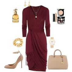 Burgundy Wrap Dress Outfit created by tsteele