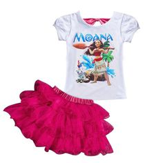 KEAIYOUHUO 2017 MOANA Girls Clothes Sets T-shirt+Tutu Skirt Suit Children Clothing Sets 2017 Summer Sport Suit Costume For Girls