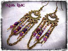 PURPLE GYPSY EARRINGS Bohemian Chandelier earring bronze Filigree Swarovski Crystal Fantasy earrings Hippie boho elegant Indian Sari Wedding
