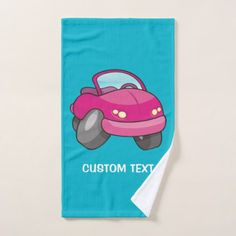 Blue Cartoon Car Bath Towel Set