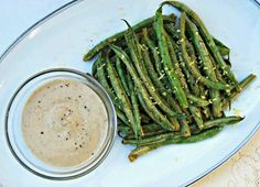 Nut free green beans and mustard sauce.