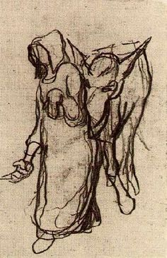 Vincent van Gogh: Woman with a Donkey,  Auvers-sur-Oise: 1890 (Amsterdam, Van Gogh Museum)  No F number, JH Add. 17