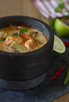 Menú 1 sopa thai de coco y gamba …